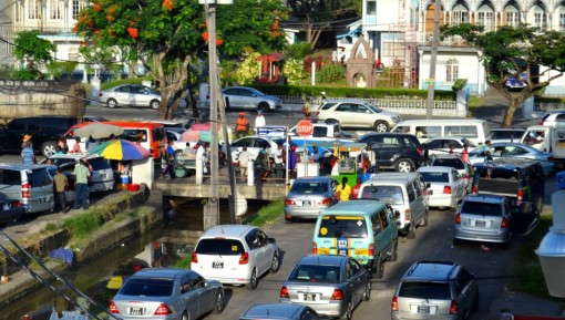Traffic approach Avenue of the Republic from the Berbice and East Coast bus parks. This area in the city is usually congested during the daytime in any given week and on Saturdays.