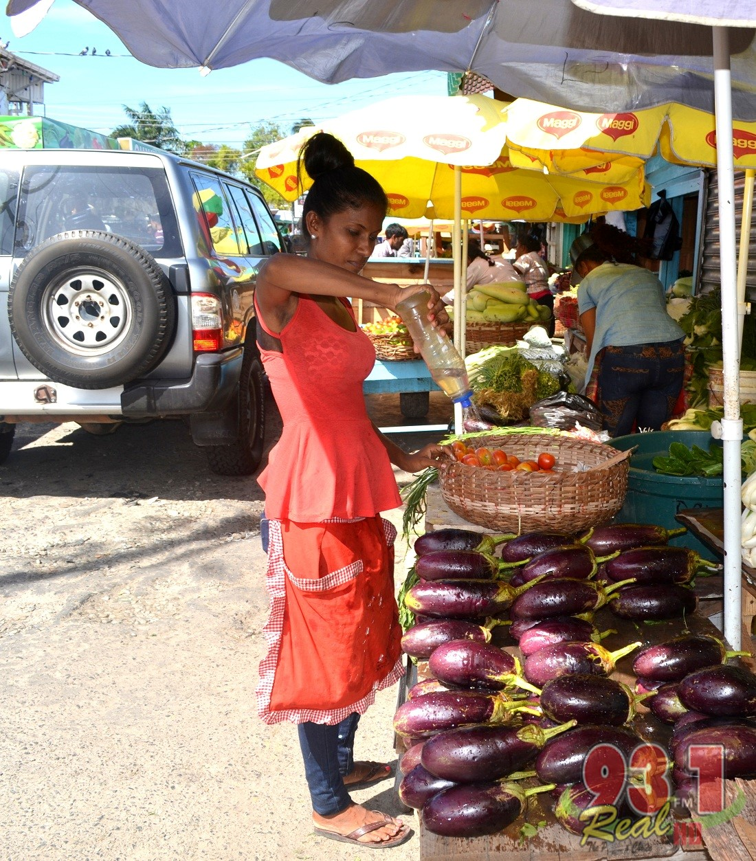 This vendor was keeping her vegetables fresh, a practice utilised at all the markets around the country,especially during the hot weather