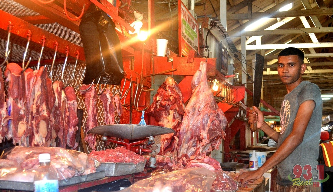 This butcher was about to saw a portion of beef when we visited his stall