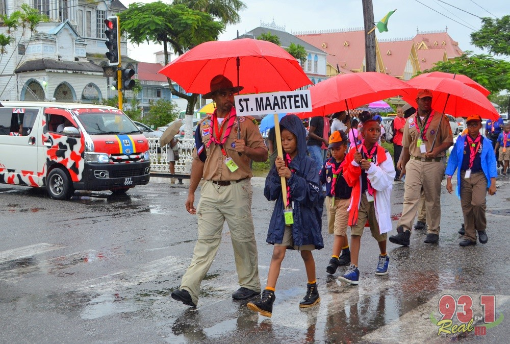 St Maarten's contingent went prepared for the rains...